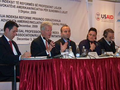 During the November 2009 roll-out of the Kosovo Legal Profession Reform Index, a panel discusses the bar examination, licensing procedures and continuing legal education.