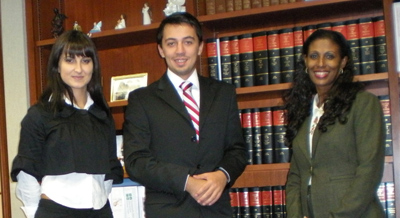 Kosovo students at the Office of the clerk of Superior Court – Fulton Country, Atlanta (from the left Kaltrina, Nikola and Sharon White)