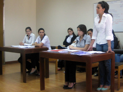 A student presents her argument during the moot court workshop.