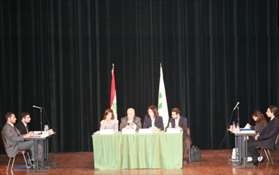 Students from La Sagesse University in Beirut present their legal arguments during the Moot Court Competition