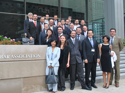 The 24-member delegation of Mexican bar association leaders and law school representatives visited the American Bar Association headquarters in Chicago during the five-day study tour.