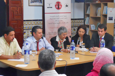 Judge Barkett of the 11th Circuit Court of Appeals, who also serves as chair of ABA ROLI's Middle East and North Africa Council, speaks to lawyers and representatives from civil society during an event in Khemisset, Morocco.