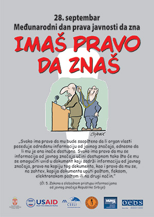 "A Serbian cartoon depicting the theme of Right to Know Day. In English, it reads, ""Enough of this. I have the right to know"