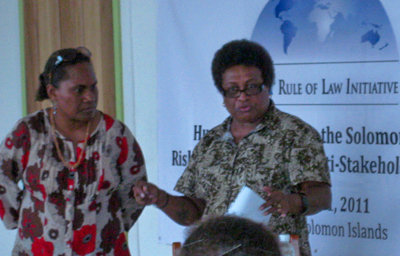 Ethel Suri, Women's Officer at Solomon Islands Christian Association and Rose Isukana present a summary of potential action items to address trafficking in persons in the Solomon Islands.
