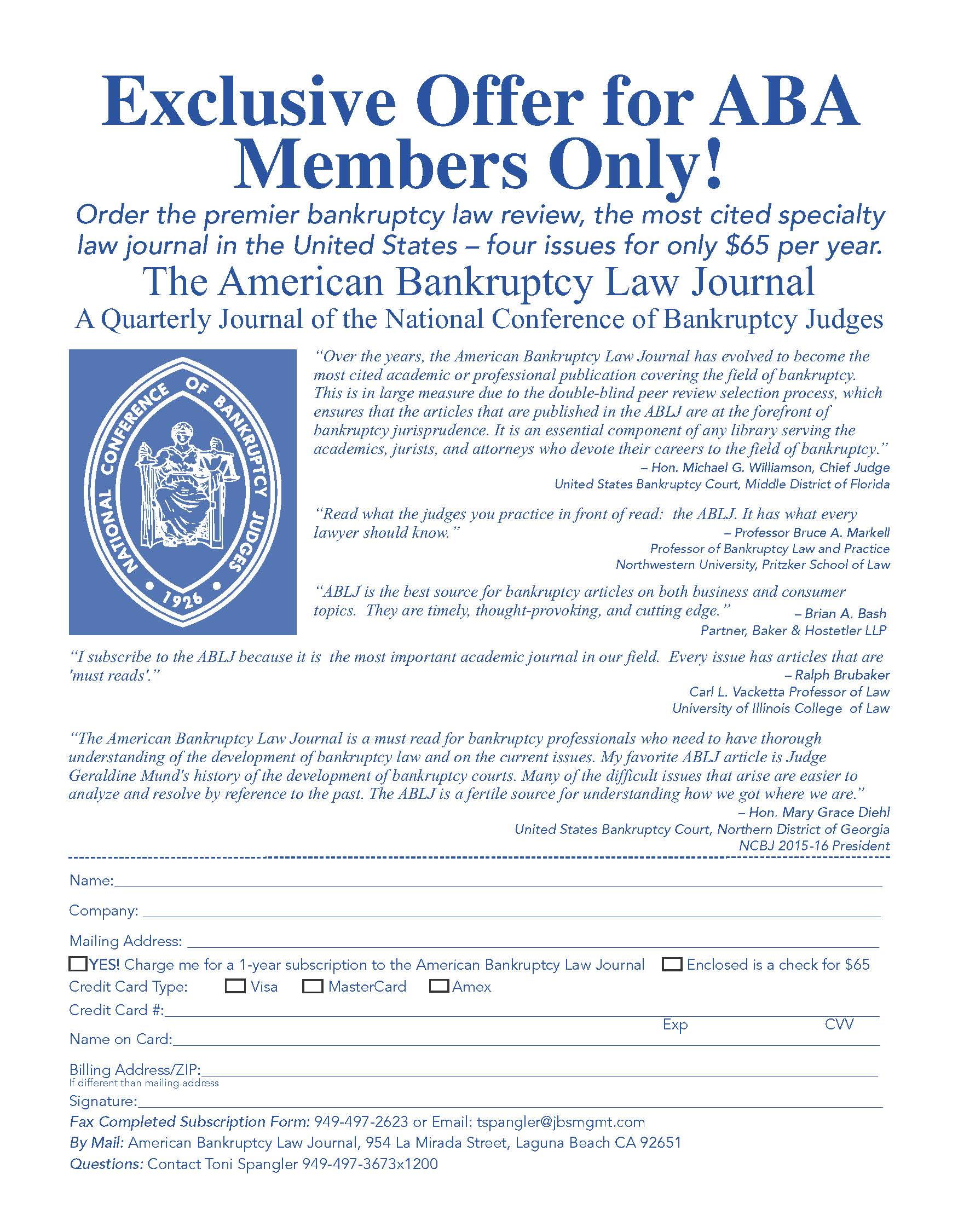 BLS Members Receive Special Offer for The American Bankruptcy Law ...